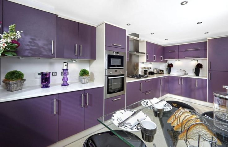 Barratt homes newport psychedelic purple gloss kitchen for Eye level oven kitchen designs