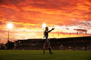 Waqa Blake of the Penrith Panthers is photographed against a spectacular sunset during his side's National Rugby League match with the Cronulla Sharks at Pepper Stadium in Sydney, Australia
