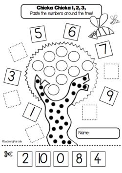 FREE kindergarten printable based on Chicka Chicka 1,2,3. Kids cut and paste the numbers into the sequence. The full math unit is available on our blog under 'Story Maths' or on TPT.