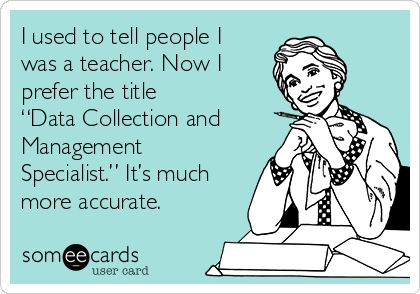 "I used to tell people I was a teacher. Now I prefer the title ""Data Collection and Management Specialist."" It's much more accurate."