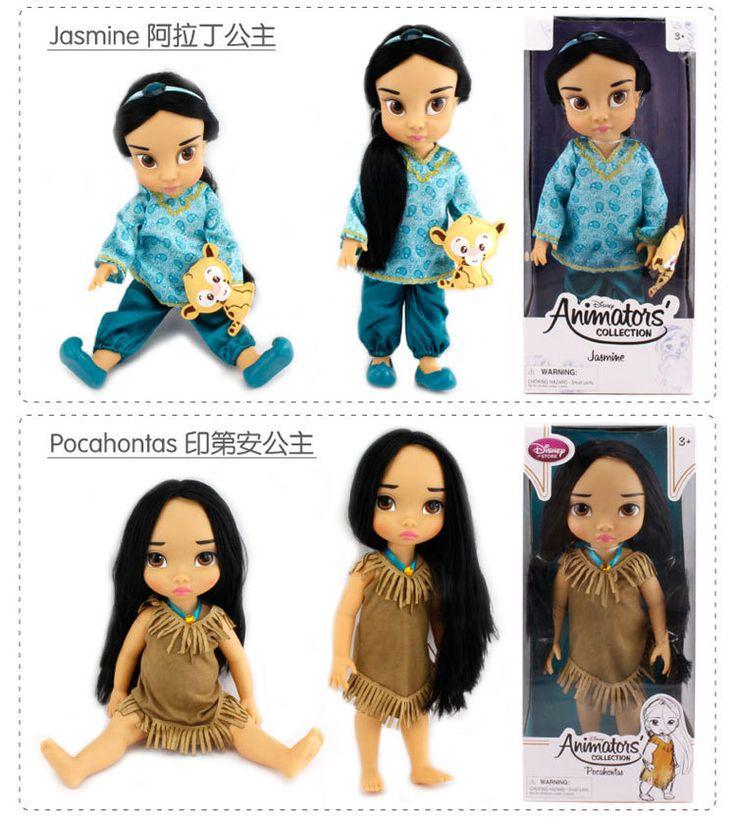 Мультфильм аниматоры коллекция принцесса жасмин покахонтас кукла пвх фигурку девушки куклы и игрушки для рождественский подарок 16  40 см