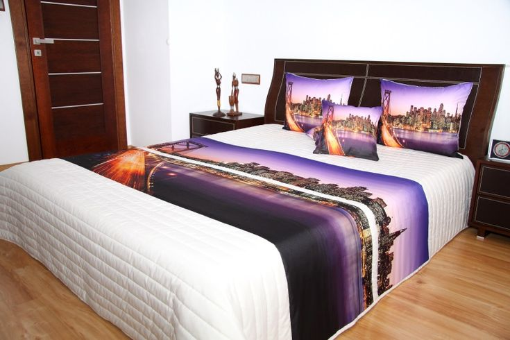 Ognisty most na fioletowym tle narzuta 3D na łóżko w kolorze białym
