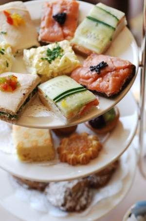 High Tea  Cakes, scones, sandwiches and pastries  Never serve sandwiches with cheese or mayonnaise.   Serve scones with fillings such as jam or lemon curd.