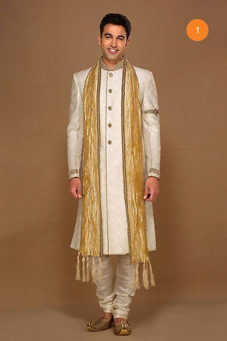 Manyavar Off White Imperial Sherwani