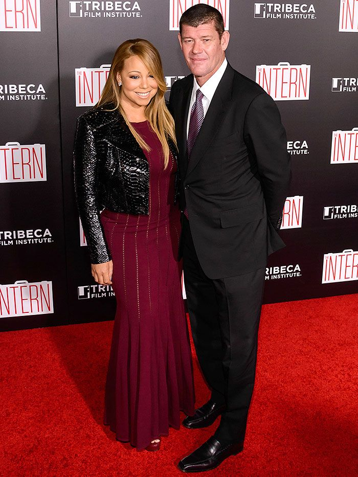 "Mariah Carey Wears Alaïa Dress and Gucci ""Claudie"" Sandals to Walk the Red Carpet with Boyfriend James Packer for the First Time"