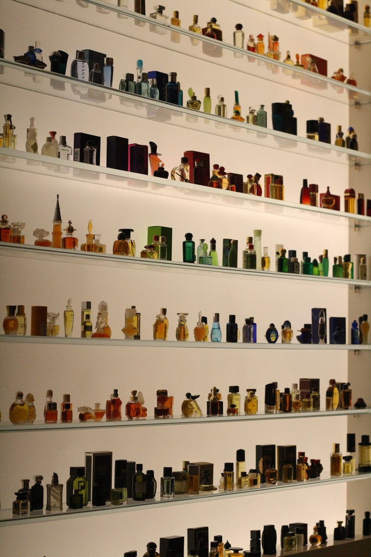 Simplly elegant.   The mini-perfume bottle display at Osswald Parfumerie Photo by Rocky LiInspiration-Mood-Dream board for the planning of The Mini Museum & Miniature Perfume Shoppe