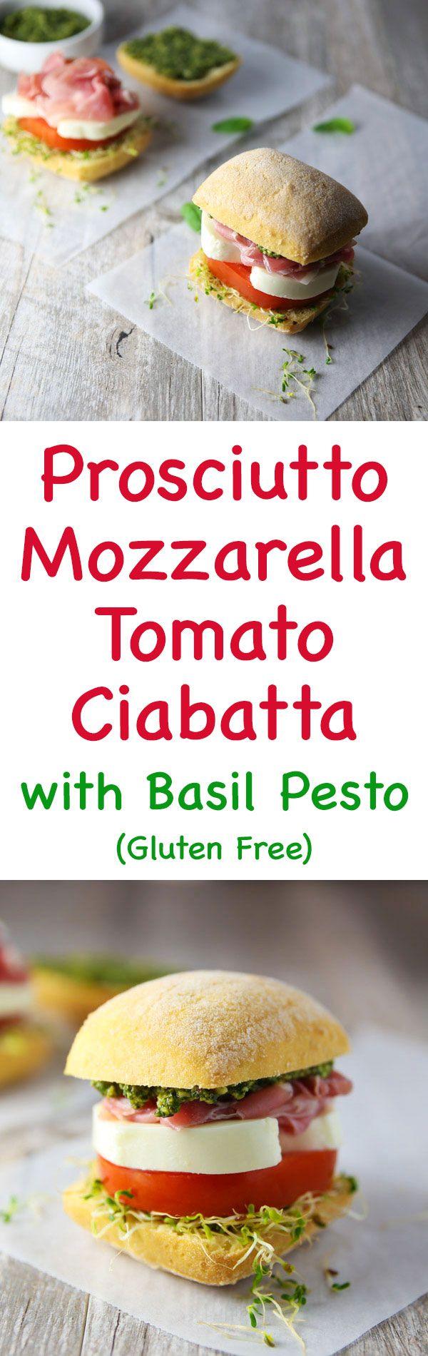 These Prosciutto Mozzarella Tomato Ciabatta with Basil Pesto Rolls are so flavorful! (Gluten Free)