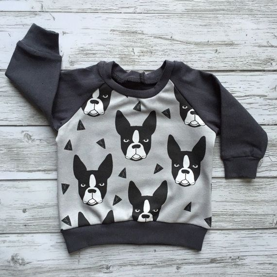 This Boston Terrier reglan sweatshirt is perfect for dog lovers! Made with Organic cotton (front dog panel only) fabric designed by Andrea Lauren.