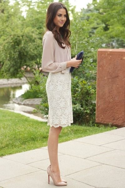 #neutral colours, clean look and gorgeous #lace skirt