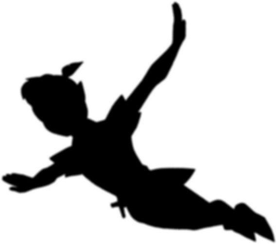 Peter Pan vinyl wall art sticker decal childrens room kids wall sticker silhouette via Etsy