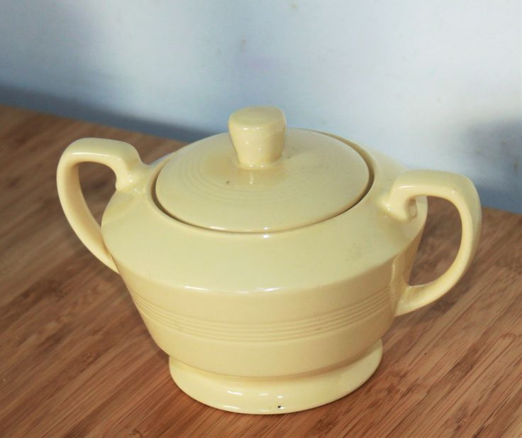 Lidded Sugar Bowl with Handles by Woods Ware in Jasmine. Yellow Utility Ware 1940s Vintage by AtticBazaar on Etsy