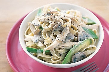 Chicken Mushroom and Avocado Fettuccine