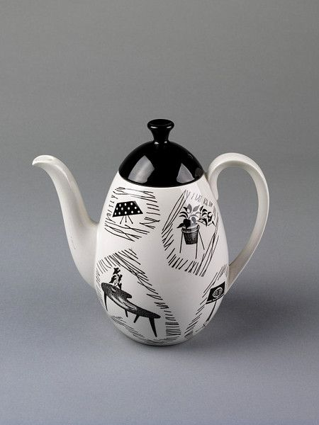 'Homemaker' coffee pot. Shape designed by Tom Arnold. Pattern by Enid Seeney. 1955-68. Originally sold in Woolworths!