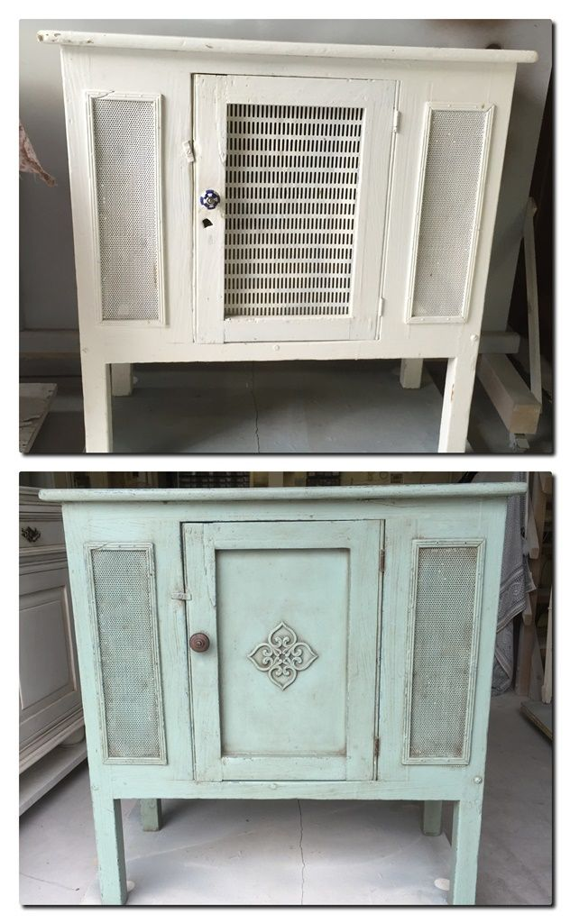 Vintage cabinet re-done in Antique Provence Green