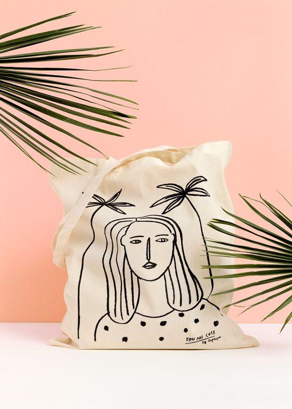 Mädchen und Palmen Einkaufstasche Bio-Canvas Tote von depeapa auf Etsy
