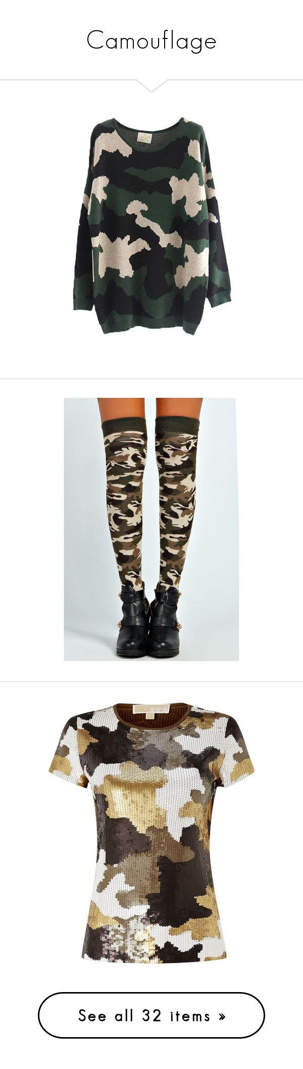 """""""Camouflage"""" by nkotbsbaby1 ❤ liked on Polyvore featuring tops, sweaters, jumpers, udobuy, camo sweaters, camo jumper, oversized tops, camouflage jumper, camouflage top and intimates"""