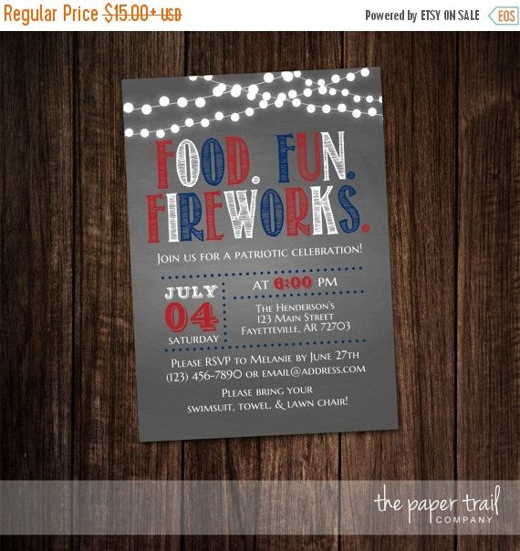 30% OFF WEEKEND SALE 4th of July Invitation by ThePaperTrailCo
