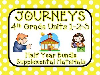 Journeys 4th Grade - This bundle contains a variety of activities for each lesson in Units 1, 2, and 3 from the fourth grade Journeys from Houghton Mifflin Harcourt. These activities are designed to teach, re-teach, practice, or assess the lessons taught in these units. $