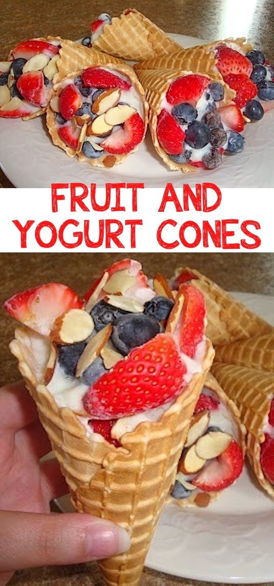 Fruit & Yogurt Cones (perfect for camping! Kids love these.) -- Quick, fast and easy breakfast recipe ideas for a crowd (brunches and potlucks)! Some of these are make ahead, some are healthy, and some are simply amazing! Everything from eggs to crockpot casseroles! Your mornings just got a little better. Listotic.com
