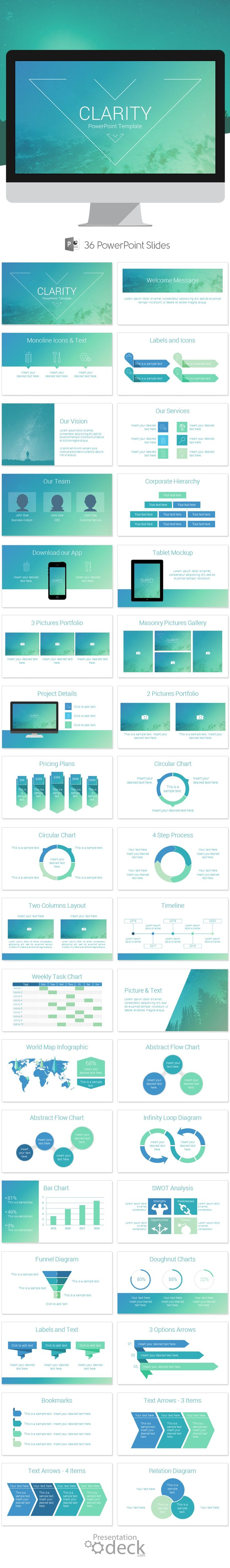 Clarity is an awesome PowerPoint presentation template that includes 36 pre-designed slides. Use this theme for presentations on mobile technologies, apps showcase, marketing & sale pitch, etc. #powerpoint #powerpoint_templates #presentations #abstract #modern