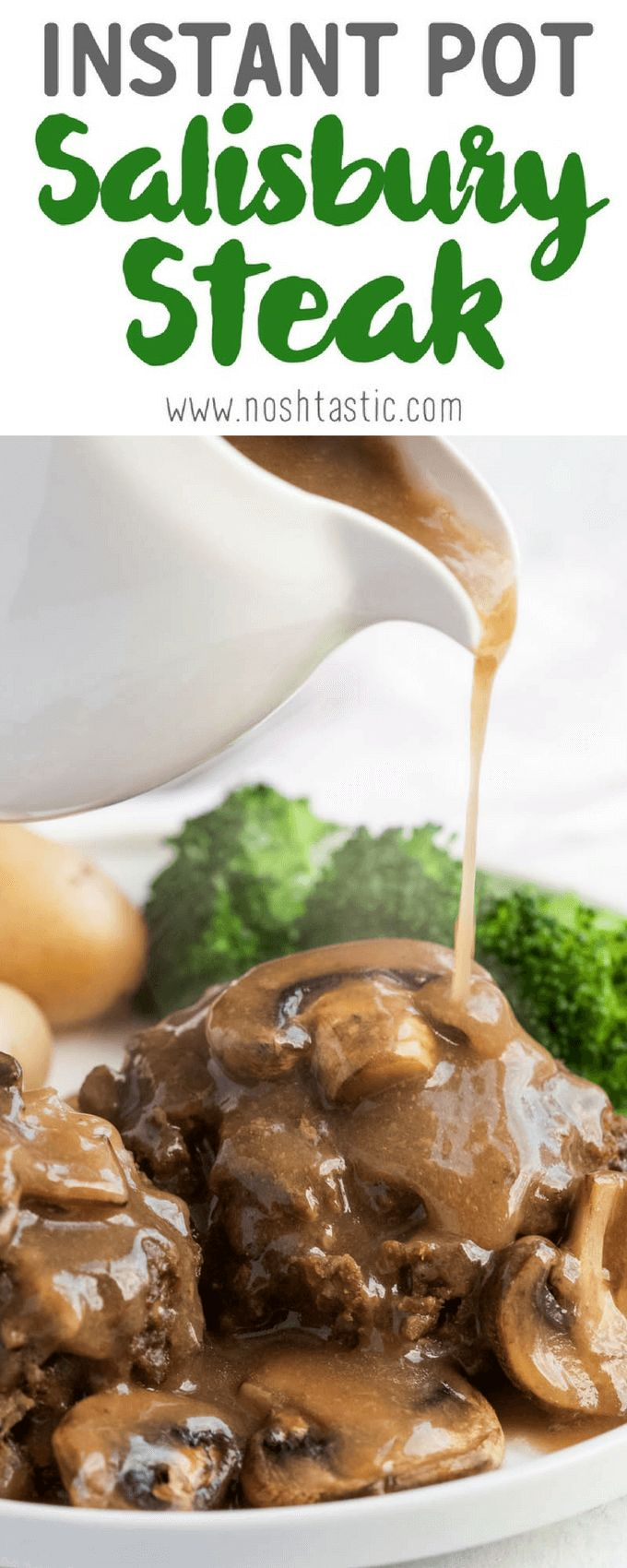 You'll love my gluten free Instant Pot Salisbury Steak with Mushroom Gravy recipe! It's a really easy weeknight pressure cooker meal that's also gluten and dairy free. Made with ground beef and mushrooms, potatoes optional.