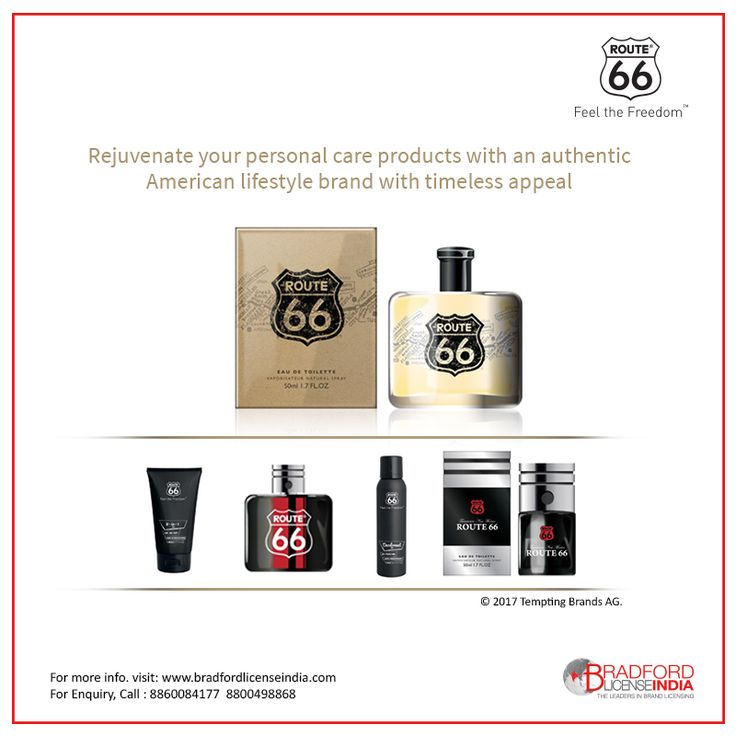 Rejuvenate your personal care products with an authentic #American #lifestyle #brand with timeless appeal. #Licensing #opportunity with #Route66. For more information visit https://goo.gl/pKeUim call us @8860084177. Register Today! for best opportunity https://goo.gl/eFcruZ
