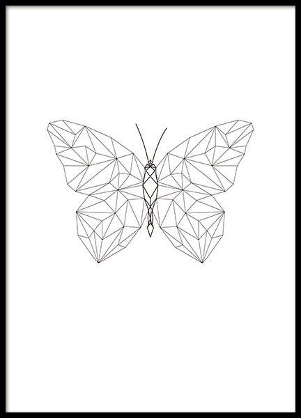 Poster mit geometrischem Motiv eines Schmetterlings. Das Poster passt perfekt zu den anderen geometrischen Postern aus unserer Kategorie mit Graphic art. www.desenio.de