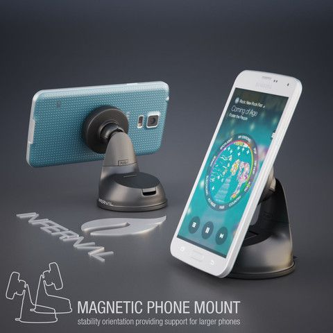 #1 Rated Universal Magnetic Phone Mount for Windshield & Dashboard 75mm Adhesive Disk for Samsung Galaxy S5/S4/S3, Note 4/3, iPhone 6 & Plus/5S/5C/4S, Nexus 6/5, HTC One & Many More