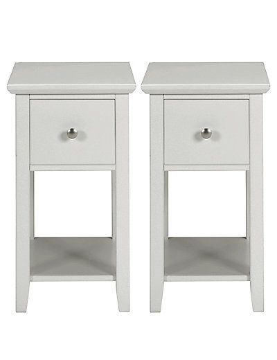2 Hastings Grey Compact Bedside Chests   M&S