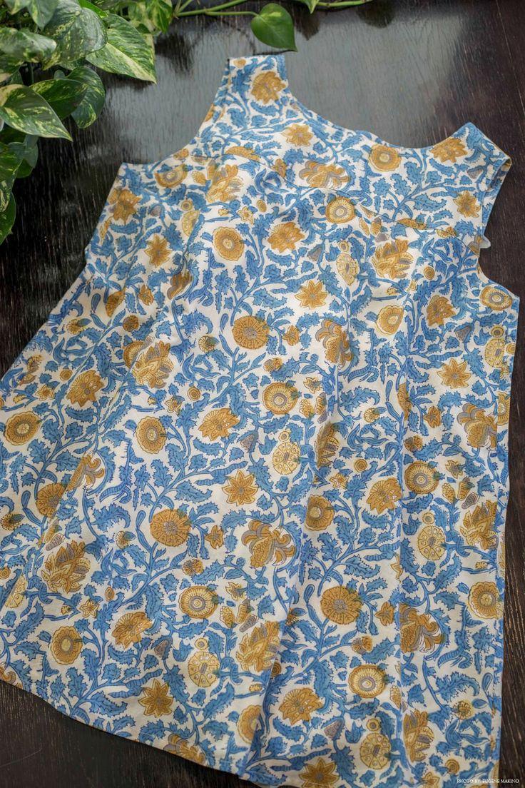 GRAPE Motomachi / Block Print Tank #blockprint #cotton #floral #tanktop #blue #grapemotomachi