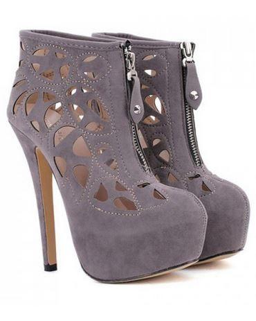 Boots I LOVE! Sexy Grey Suede Openwork and Rivets Design Women's Zip Up Short Booties