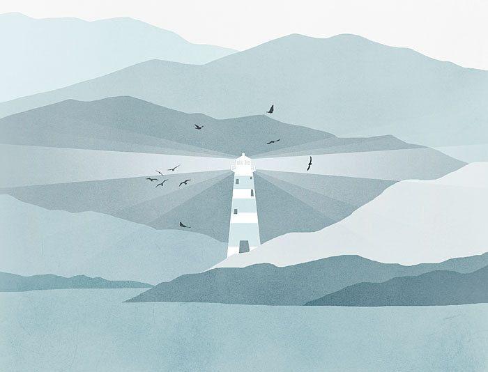 Nautical Decor, Lighthouse Art Print, Beach Decor, Nautical Nursery - Blue Grey