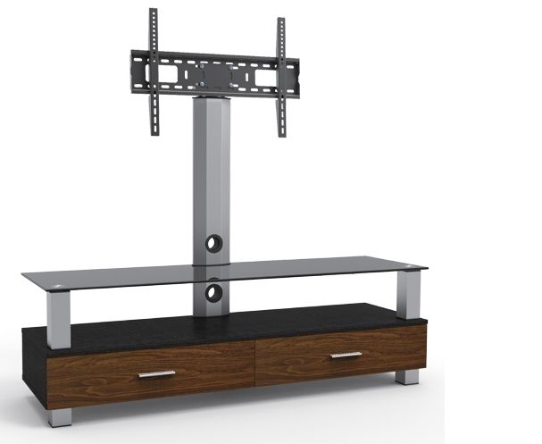Constructed with elegant aluminum column and legs, this three shelves TV stand offers a stylish look that is complemented by two melamine face wood drawers, one door and the swiveling mount. High-q...