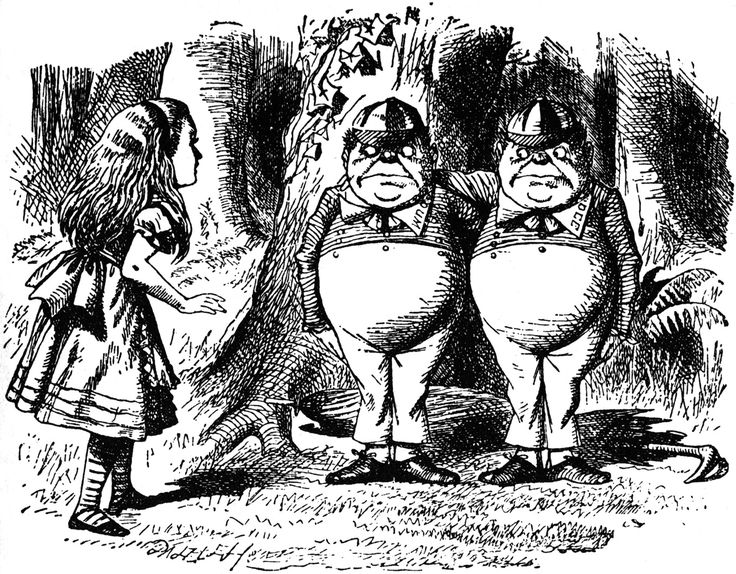 John Tenniel's illustration of Tweedledum & Tweedledee from Alice in Wonderland