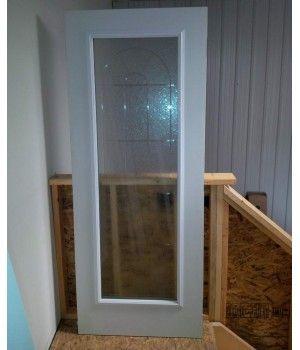 """32"""" x 79"""" Fiberglass Door Slab No Frame  This Smooth Fiberglass Door Slab comes with a 22x64 """"Murano V-Grove"""" Glass Insert"""