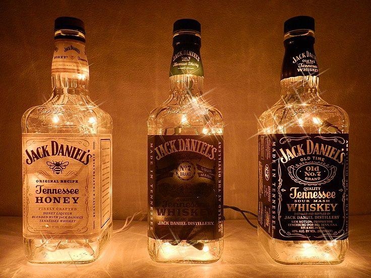 Светильник из бутылки виски своими руками