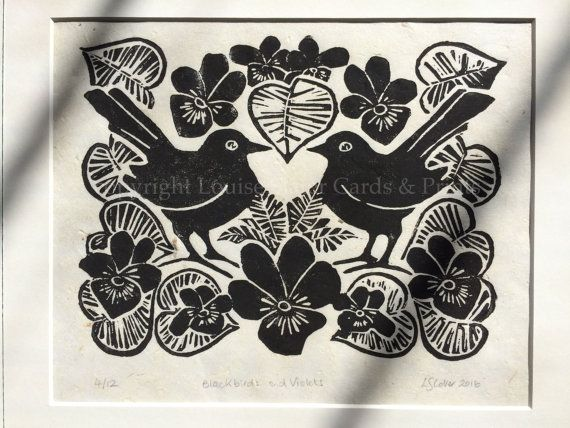 Merels & viooltjes Lino afdrukken
