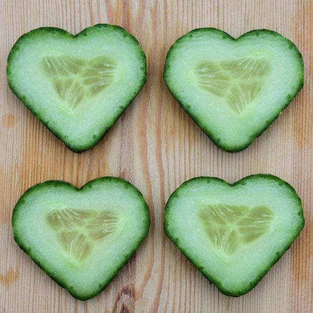 You can train your cucumbers to grow into hear shapes!  I see a trend coming.  Heart pickles anyone?  The new wedding favour?