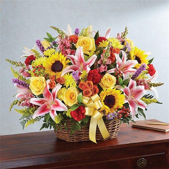 1-800-FLOWERS® MULTICOLOR BRIGHT SYMPATHY BASKET ARRANGEMENT   1800Flowers Flowerama Iowa City