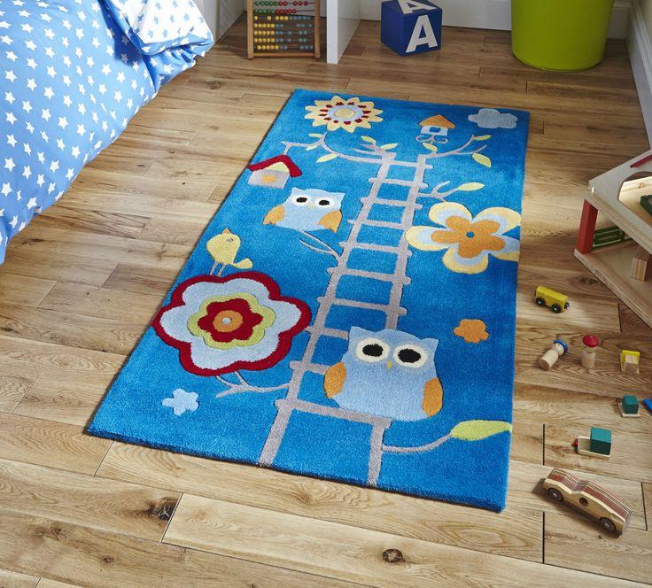 Blue Owl Scene Children s Rug 70cm x 140cm (2'3 x 4'6 ft)