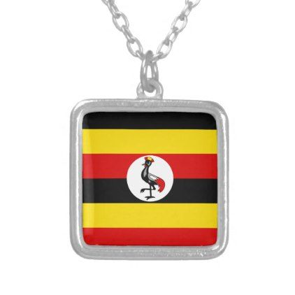Uganda Flag Silver Plated Necklace - jewelry jewellery unique special diy gift present