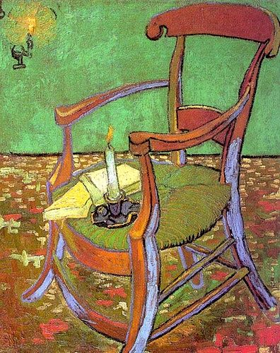 Vincent Van Gogh >> Gauguin's Chair with Books and Candle - 1888 - Rijksmuseum Vincent van Gogh, Amsterdam     (Oil, artwork, reproduction, copy, painting).