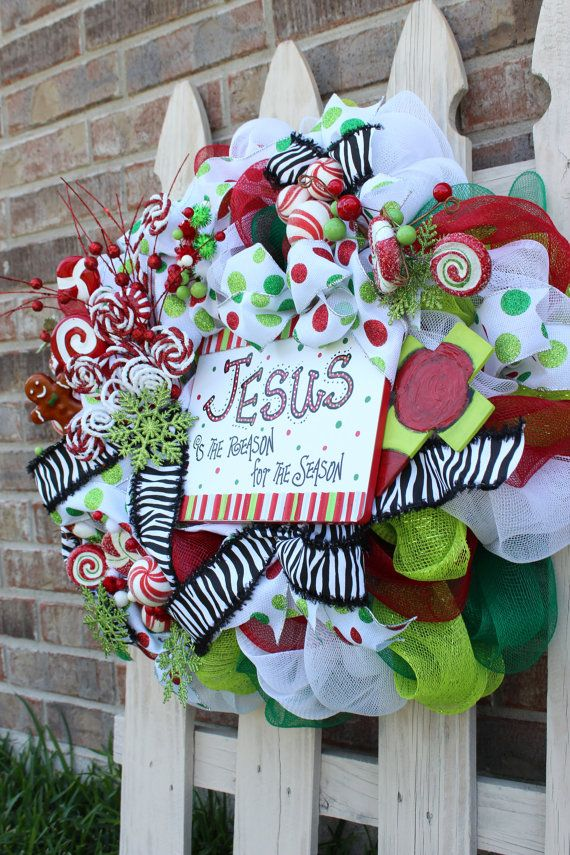 Deco Mesh Christmas Wreath with Jesus is the by BackRoadsFaith, $165.00