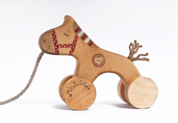 Personalized Wooden Red Horse Pull Toy ($29)