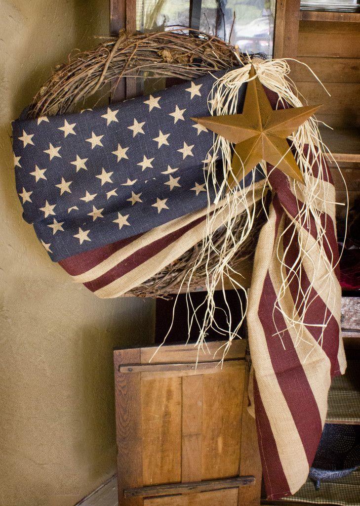 24'' Burlap American Flag Wreath