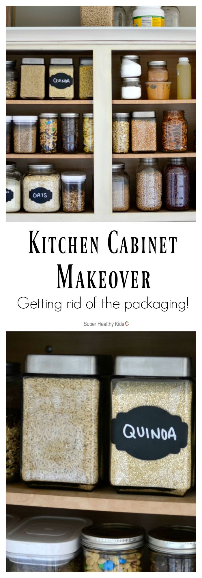 KITCHEN ORGANIZATION - Kitchen Cabinet Makeover- Getting rid of the packaging! Where organization meets small kitchen! http://www.superhealthykids.com/kitchen-cabinet-makeover-getting-rid-of-the-packaging/