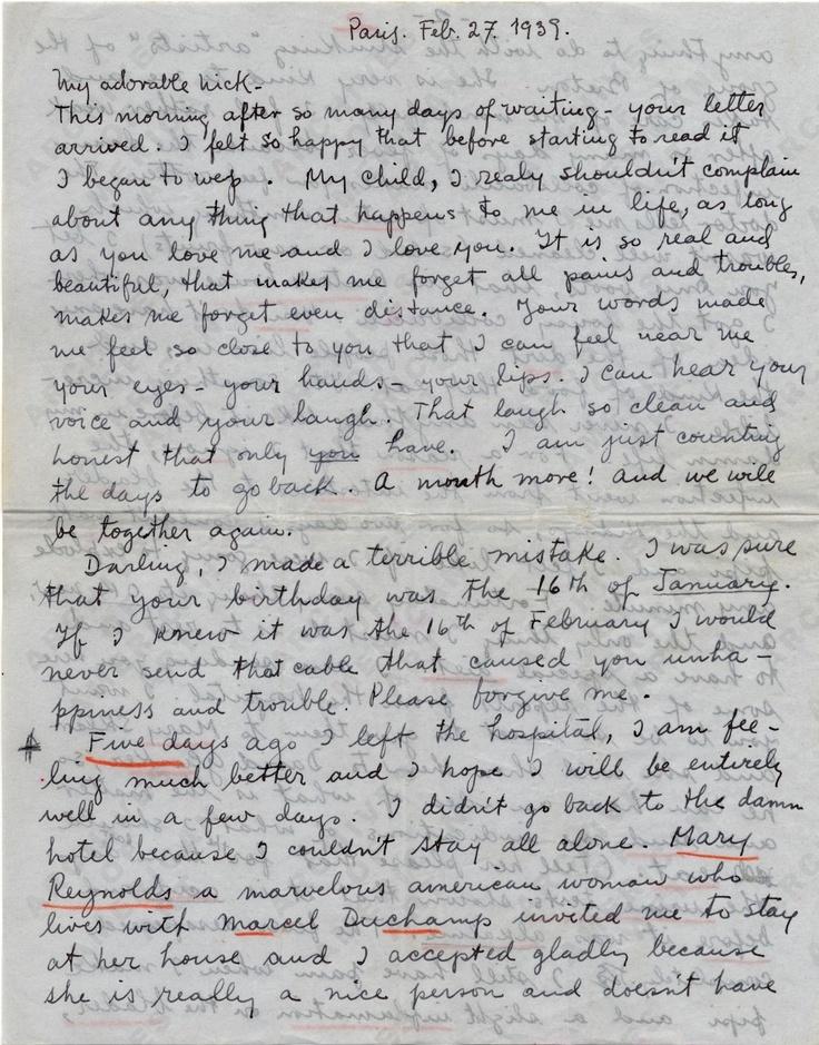 love letter from frida kahlo to nickolas muray, feb 27th 1939.1939 Feb, Diego Rivera, 27Th 1939, Nickolas Muray, France Letters, 1939 Hmmm, Paris France, February 1939, Frida Kahlo