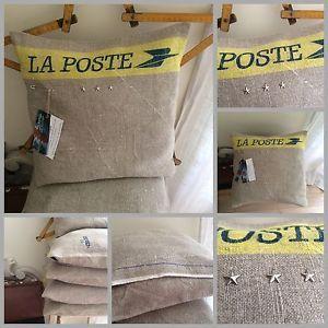Coussin LA Poste LIN Linge Ancien Déhoussable Étoile LE Vert Logis 32 X 32 CM | eBay