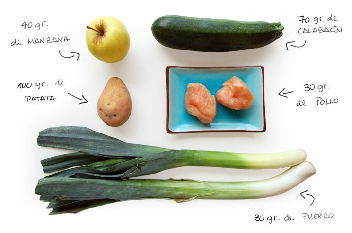 papilla de pollo, manzana y calabacín