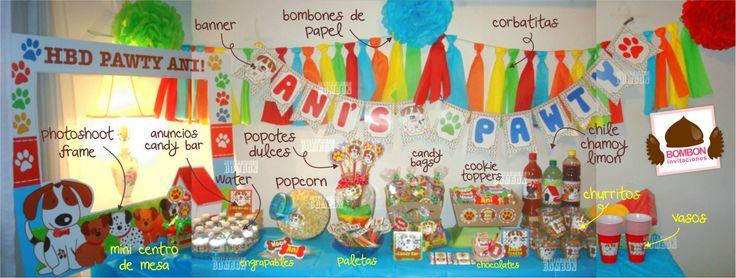 #Dog #Puppy #doggie #beagle #paw #pawty #birthday #party  #decoration #perro #cachorro #cachorrito #fiesta #cumpleaños #banner  #candy  #botanas #dulces #snack #bar #mesa https://www.facebook.com/invitaciones.bombon